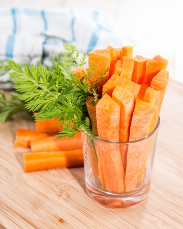 crudite: Fresh made Carrot Sticks in a glass (diet food)