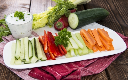 crudite: Crudites stripes (fresh diet food) Stock Photo
