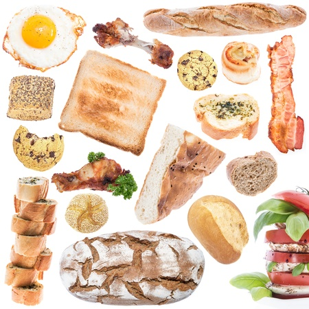 copyspace: Food Collage (icon size) isolated on white background Stock Photo