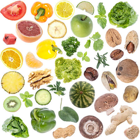 Vegetables Collage (icon size) isolated on white background photo