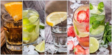 Collage with different Cocktails (flyer size) Stock Photo