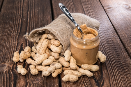 peanut butter and jelly: Fresh made creamy Peanut Butter in a glass