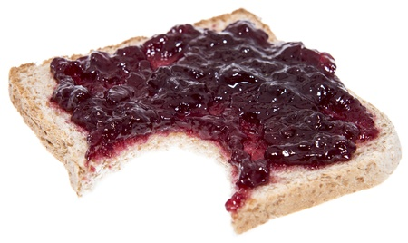 Cherry Jam Sandwich isolated on white background photo