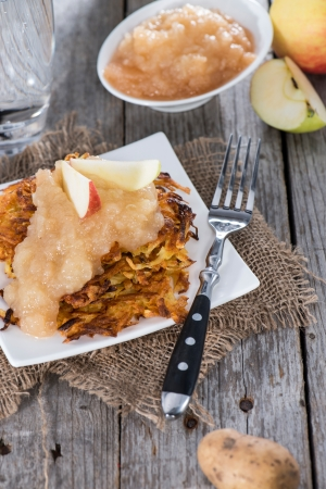 fritters: Fresh Potato Fritters with homemade Applesauce