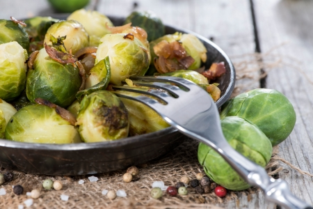 brussels sprouts: Fried Brussel Sprouts with Ham and Onions