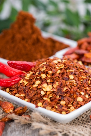 Portions of kibbled Chilli Fruits Stock Photo
