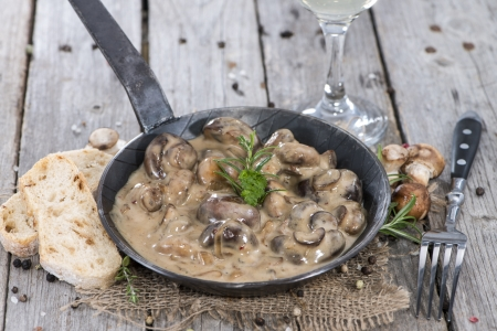 Pan with Mushrooms in a Cream Sauce on vintage