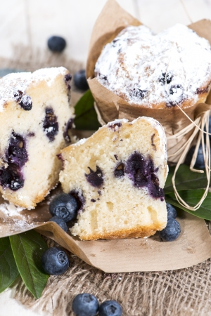 blueberry muffin: Halved Blueberry Muffin with fresh fruits