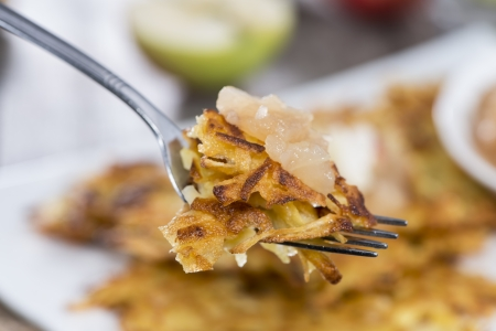 fritters: Portion of Potato Fritters on vintage grey wooden