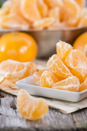 Fresh Tangerine Pieces in a bowl photo