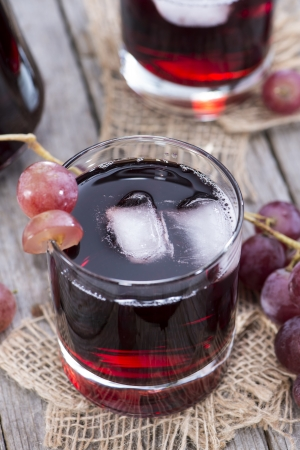 and grape juice: Glass with Grape Juice and fresh fruits Stock Photo