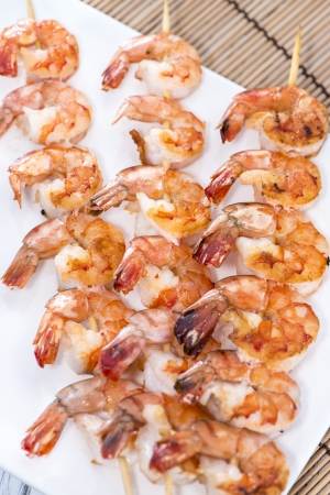 Fresh made Tiger Prawn on a Skewer photo