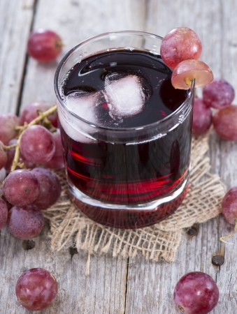 and grape juice: Glass filled with Red Grape Juice