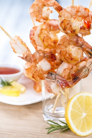prawn skewers: Fresh Prawn Skewers with a portion of Chilli Sauce Stock Photo