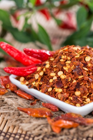 Fresh Chilli Spice on wooden background