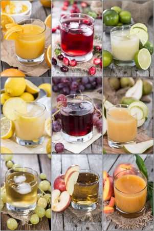 Different Juices in a glass with fresh fruits photo