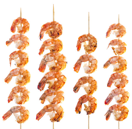 Fresh fried Prawn Skewer isolated on white  photo
