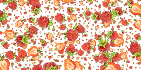 Strawberry background isolated on white photo