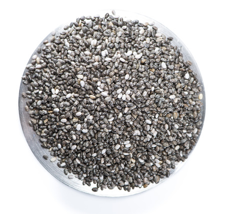 hispanica: Small portion of Chia Seeds (isolated on white background)
