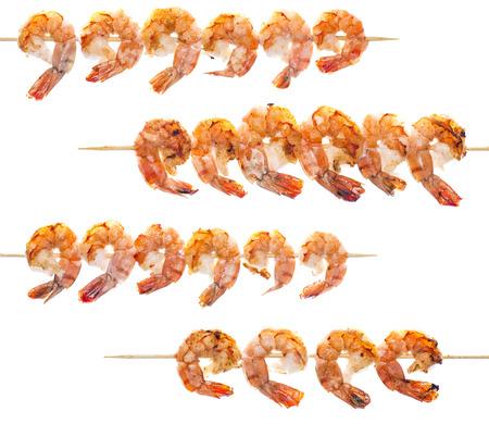 prepared shrimp: Fresh fried Prawn Skewer isolated on white background Stock Photo