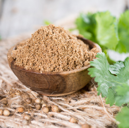 coriander seeds: Portion of Coriander Powder in a small bowl