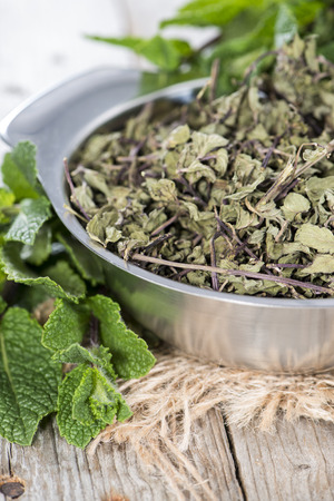 dryed: Small Portion of dried Mint in a bowl