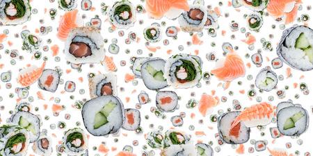Sushi background isolated on white photo