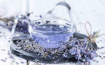 Homemade Lavender Bath Additive made out of lavender oil photo