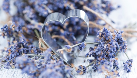 Lavender and Heart Shapes (close-up shot) for background use photo