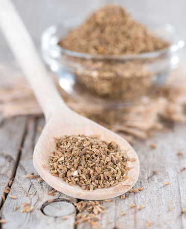 aniseed: Heap of dried Aniseed (Pimpinella Anisum) on vintage background