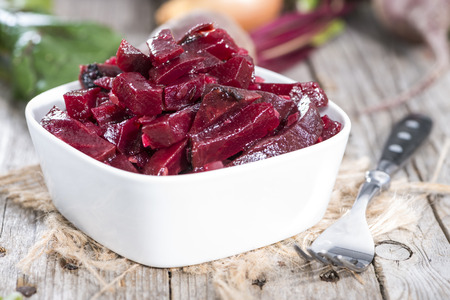 Homemade Beetroot Salad in a small bowl (ready to eat) Stock Photo