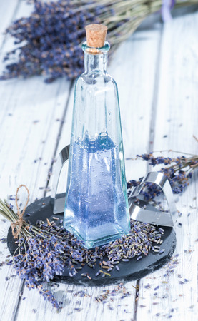 bath additive: Homemade Lavender Bath Additive made out of lavender oil Stock Photo