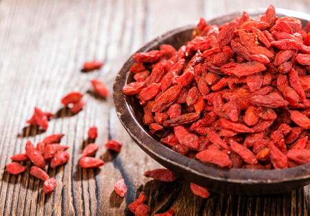goji: Portion of ried Goji Berries  in a small bowl