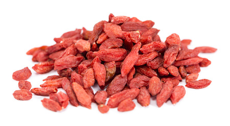 Portion of ried Goji Berries (also known as Wolfberry) isolated on white background