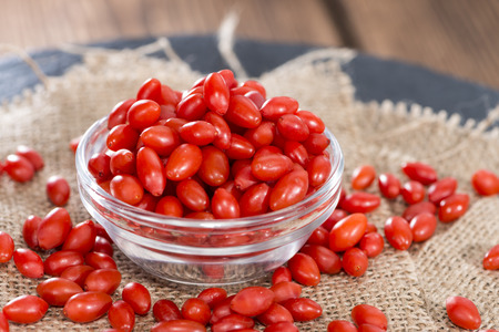 Portion of Goji Berries (Wolfberry) in a small bowl photo