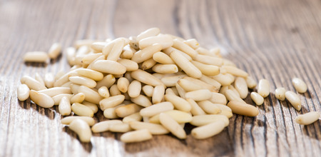 pine nuts: Portion of fresh Pine Nuts (detailed close-up shot) Stock Photo