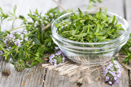 Small heap of Winter Savory (detailed close-up shot)