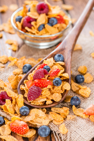 Cornflakes with fresh Berries (Strawberries, Raspberries and Blueberries) photo