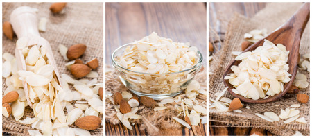 Portion of Almond Flakes (as a collage)
