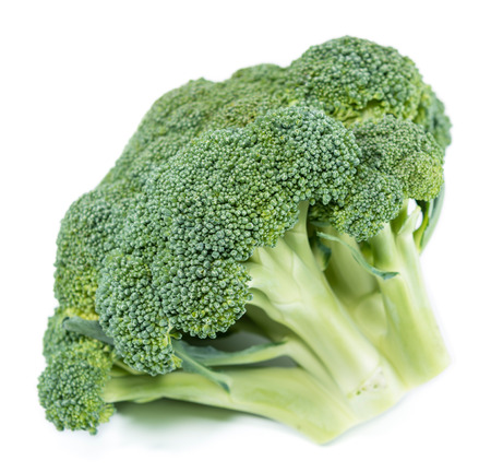 Raw Broccoli isolated on pure white background photo