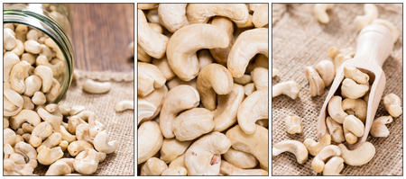 Portion of Cashew Nuts (as a collage) photo