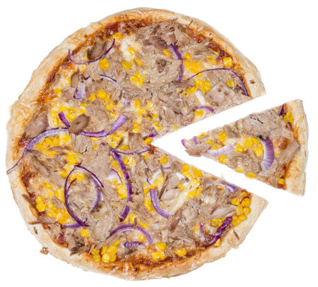 Fresh made Tuna Pizza with corn and red onions isolated on white  photo