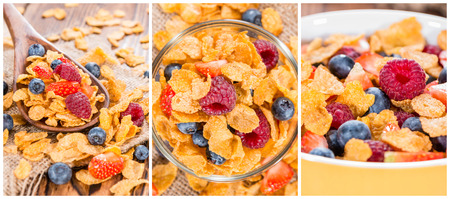 Portion of golden Cornflakes (as a collage) photo