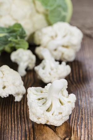 kohl: Cauliflower (close-up shot) on dark rustic background