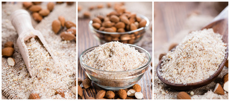 Portion of grated Almonds (as a collage)