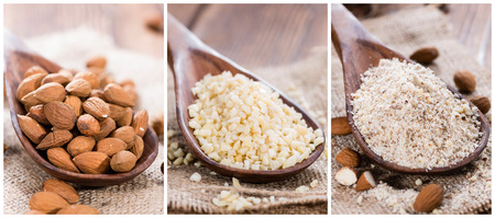 Different sorts of Almonds (as a collage) Stock Photo