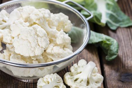 kohl: Portion of fresh Cauliflower on wooden background Stock Photo