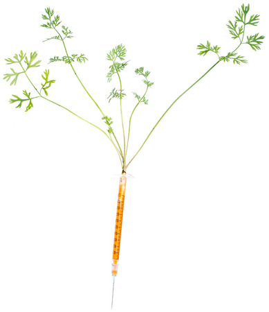 Carrot Injection isolated on pure white background Stock Photo