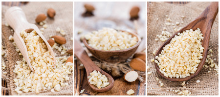 Portion of minced Almonds (as a collage)