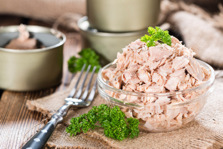 Bowl with canned Tuna (detailed close-up shot) Stock fotó